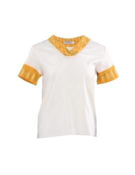 Alayla Tenun Combination Top Yellow, White
