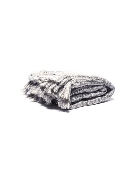 Knitted Blanket Offwhite Khaki