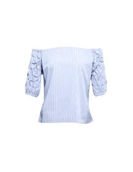 Bardot Braided Sleeve Top Soft Blue Print