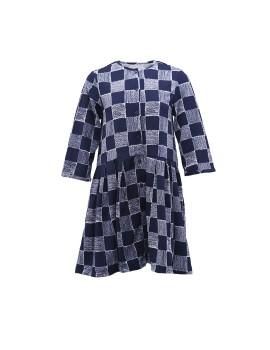 Navy Plaid Button Dress